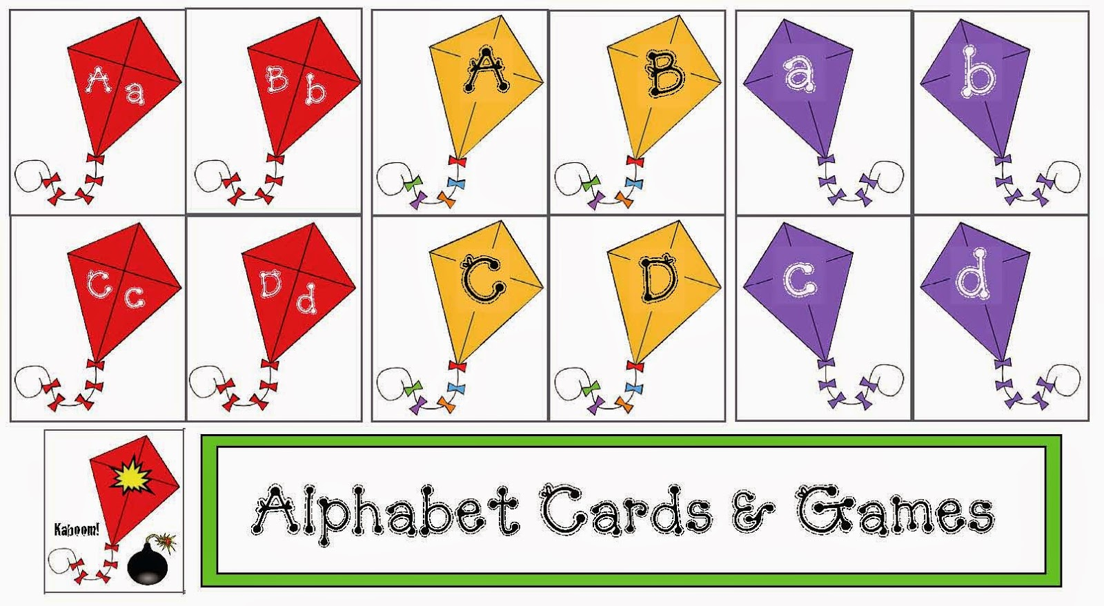 Classroom Freebies Kite Themed Alphabet Cards And Games Packet