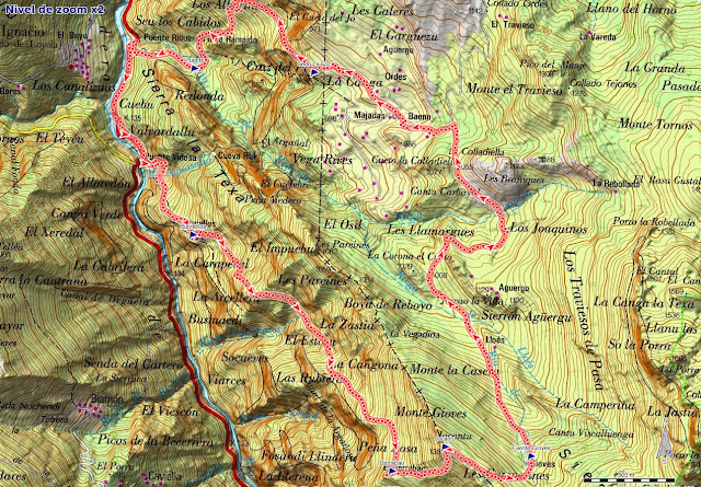 Mapa de la ruta Jultayu Puente Vidosa