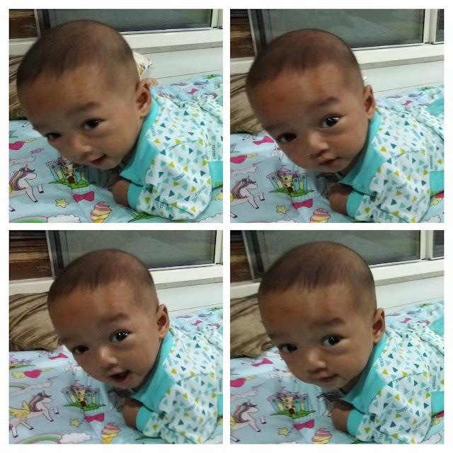 Gambar perkembangan bayi lelaki mula belajar meniarap