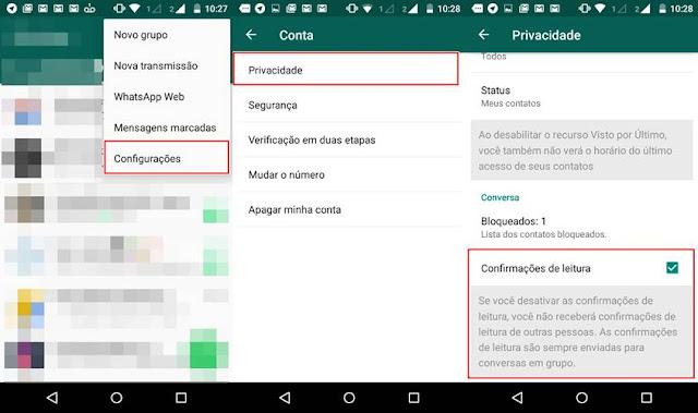 Configuração de privacidade no WhatsApp