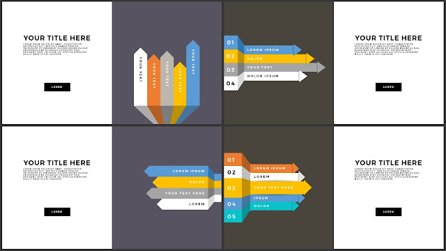 Free Various Infographic Arrow Elements PowerPoint Template Slide 9-12