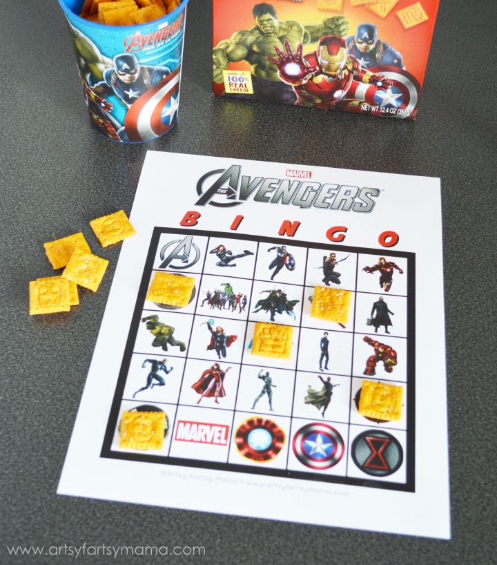 Fun Avengers crafts and activities shared by top US Disney blogger, Marcie and the Mouse: Free Printable Avengers Bingo at artsyfartsymama.com