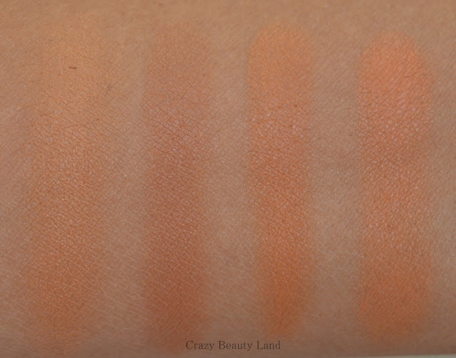 Different shades of affordable orange color correctors in India swatches