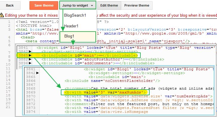 구글 블로그 사용법: 애드센스 최대 허용/노출 개수 설정 방법 maxNumAds : 반응형 테마 - 콘템포, 엠포리오, 소호, 노터블