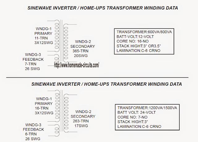 transformer winding details:
