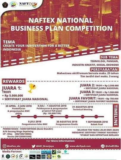Naftex National Business Plan Competition Mahasiswa/Umum 2018 di UB