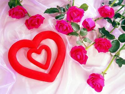 imagen de amor con corazones y rosas