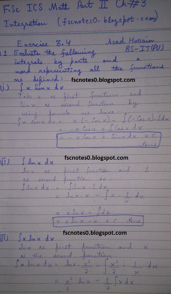 FSc ICS Notes Math Part 2 Chapter 3 Integration Exercise 3.4 Question 1 Asad Hussain 1