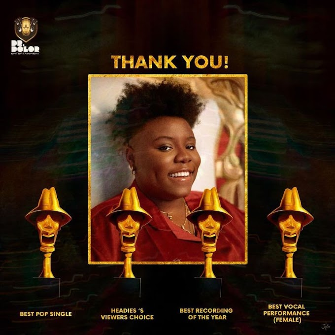 4 Awards Headies winner,Teni Thanks Fans as she Reacts To Winning