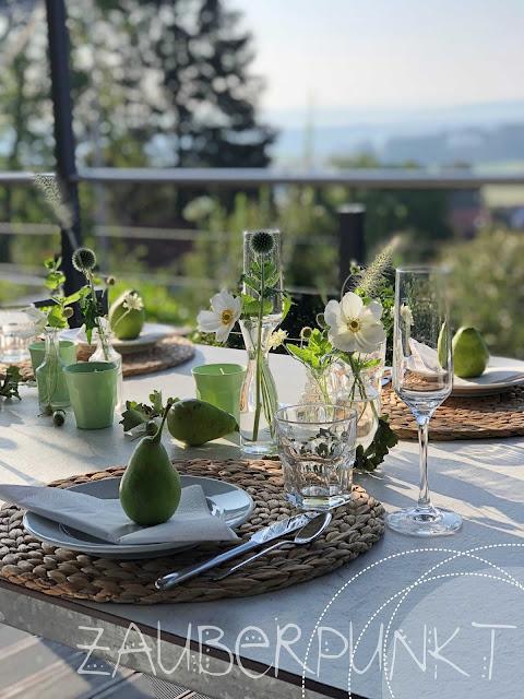 Herbstdekoration, Tischdekoration, Tablesetting, Herbst, Birnen, Herbsttisch, Grün, Dekoliebe