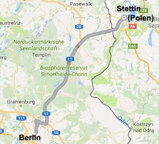 Tag 1 - Route Berlin (Deutschland) - Stettin (Polen) 7.8.2016