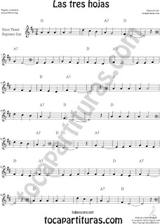 Three Leaves Sheet Music for Flute, Violin, Alto Sax, Trumpet, Viola, Oboe, Clarinet, Tenor Sax, Soprano Sax, Trombone, Flugelhorn, Cello, Bassoon, Baritone Sax, Euphonium, Horn, Tube...