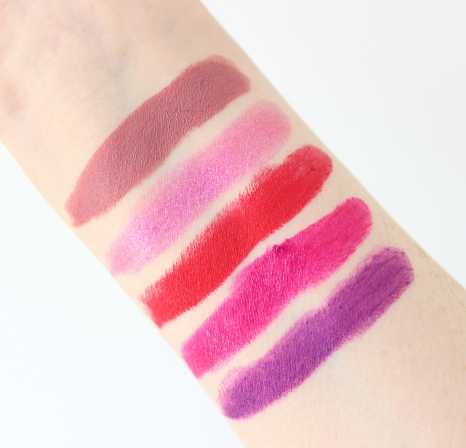Urban Decay Vice Lipstick collection review and swatches on pale skin
