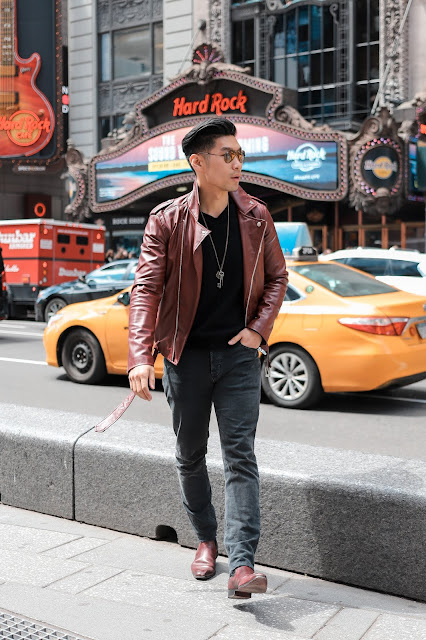 Leo Chan wearing Maroon Leather Jacket for Fall