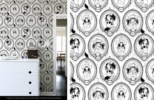 papier peint noir brillant. Black Bedroom Furniture Sets. Home Design Ideas