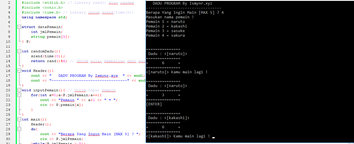 Contoh Program Random Acak Dengan Rand Srand Lempar Dadu Pemrograman C Coding Ismynr Cara Dan Contoh Pemrograman
