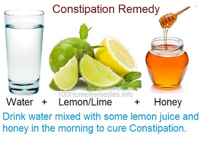 Constipation cure with Water, honey and lemon juice