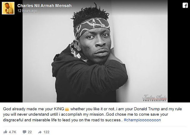 Shatta Wale compares himself to American President Donald Trump