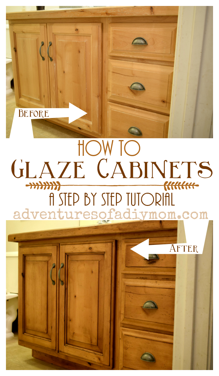 How to glaze cabinets with gel stain adventures of a diy mom - Type of paint for bathroom cabinets ...