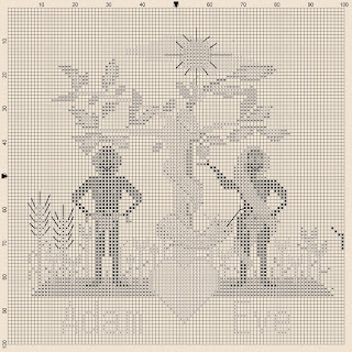 schema a punto croce primitivi-adamo ed eva