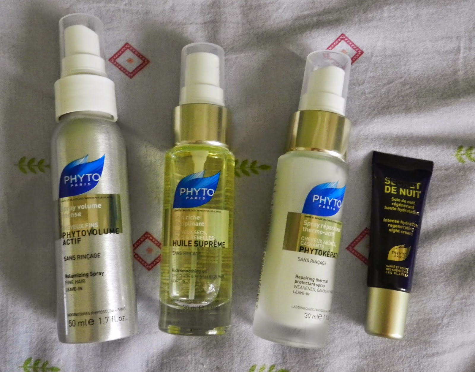 PhytoParis volume spray, huile supreme, phytokeratin & night cream