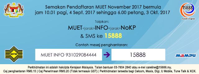 Semakan Pendaftaran MUET Sesi November 2017 Online