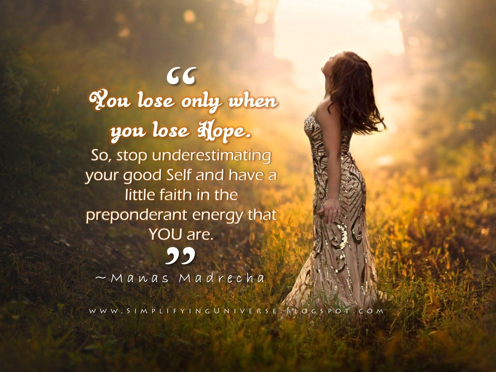 girl looking away sunlight nature green, manas madrecha quotes on hope, quotes on self, girl silver dress, motivation quotes, inspirational quotes on hope, simplifying universe, self-help blog