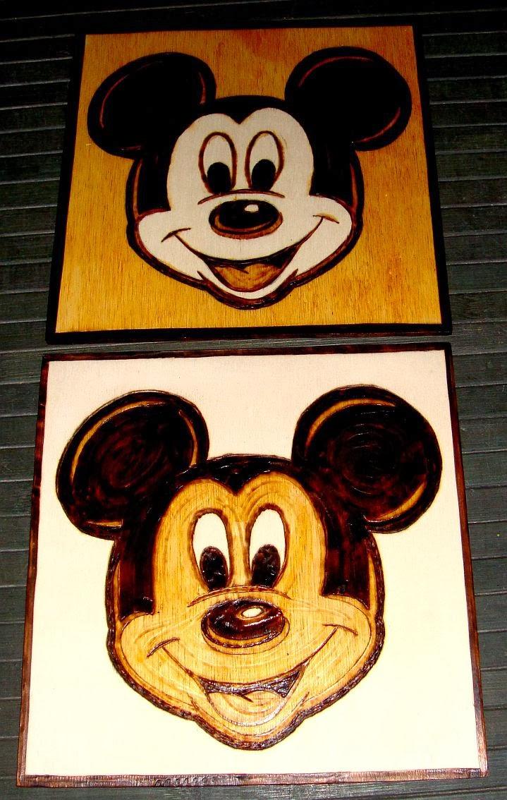 rato Mickey em pirogravura