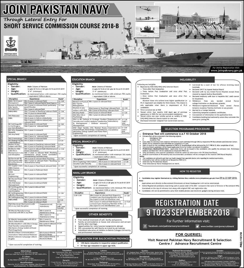.Latest Vacancies Announced Pakistan Navy through Short Service Commission Course 2018-B 9 September 2018