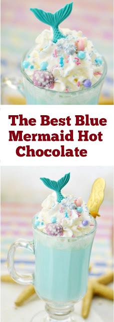 The Best Blue Mermaid Hot Chocolate #hotchocolate #chocolate #kidfriendly #drinks