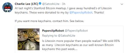 Litecoin Creator Charlie Lee Tweet