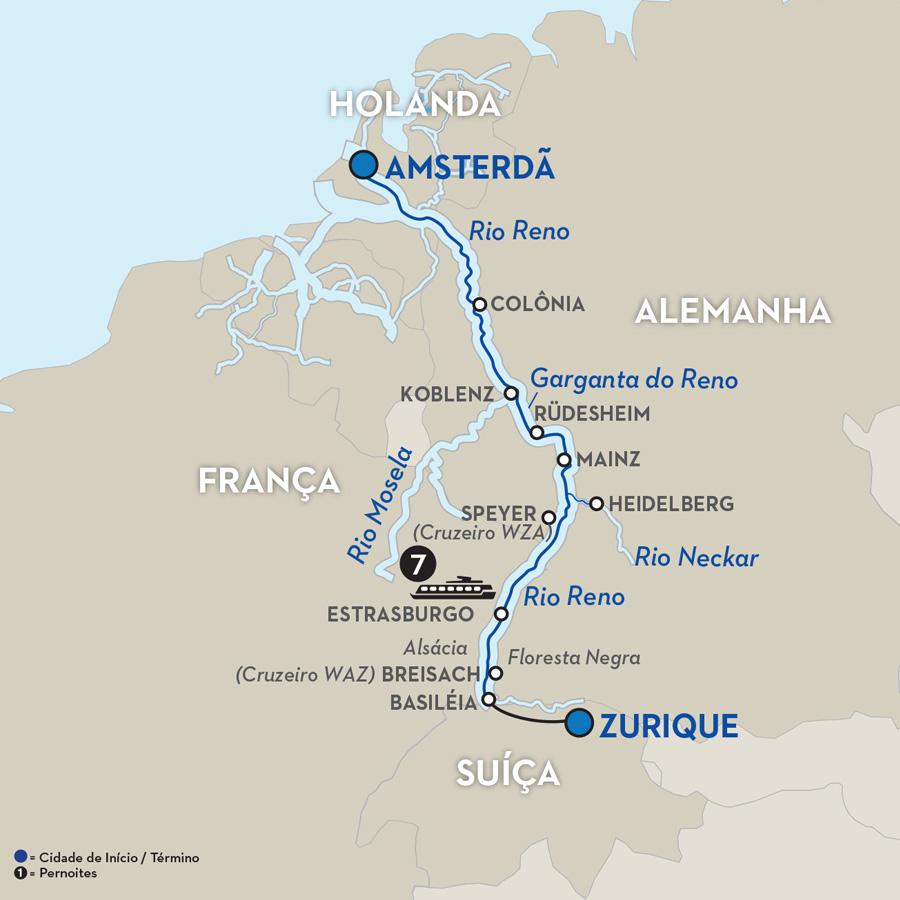 Mapa do Rio Reno na Europa