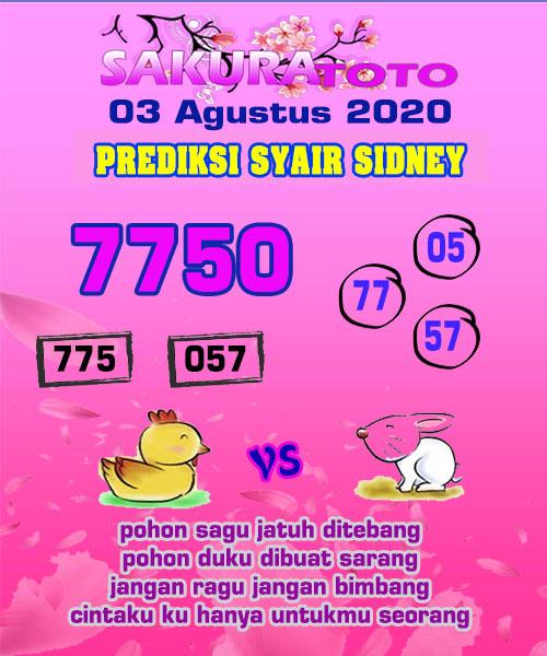 Syair Sakuratoto Sidney Senin 03 Agustus 2020