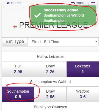 Step 7 - Select your teams - Quick Selection Soccer Betting - Hollywoodbets Mobile