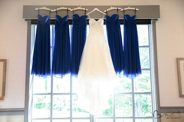 bridesmaids gowns and brides wedding dress at Noah's Event Venue in Auburn Hills Michigan