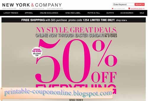 Some coupons cannot be used in conjunction with clearance or sale items. Coupons are not valid during buy one, get one free events or sitewide sales. Return policy: If you need to return an item, simply bring it back to a New York and Company store within 60 days of purchase. Note that outlet items cannot be returned to NY&C stores.