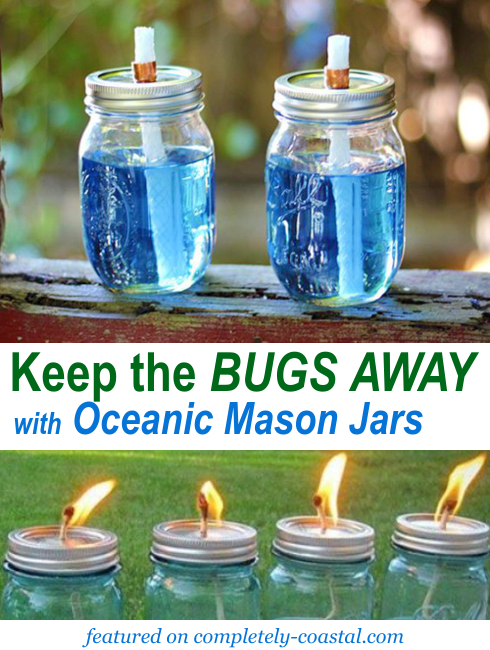 Tiki Torch Oil Lamps With A Nautical Beach Theme Using Wine Bottles Jars Shop Or Diy Coastal Decor Ideas Interior Design Diy Shopping