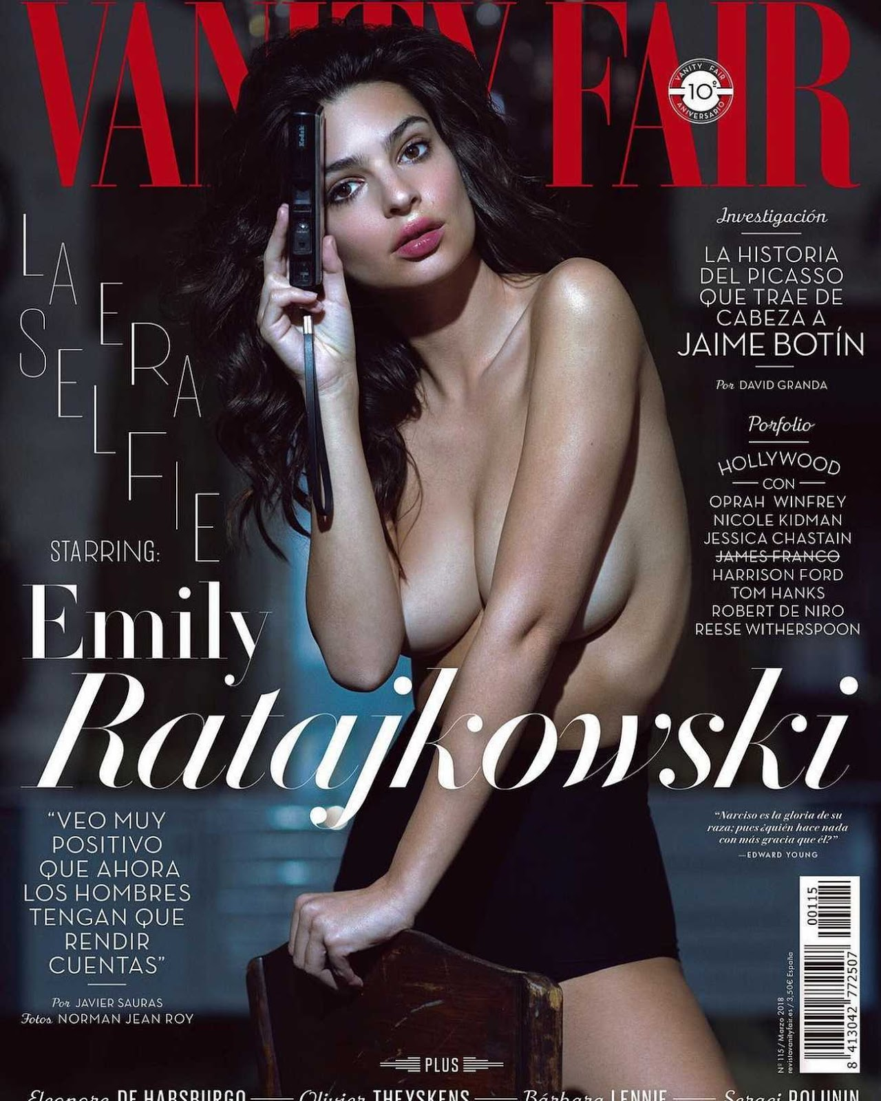 Emily Ratajkowski goes topless on cover of Vanity Fair Spain