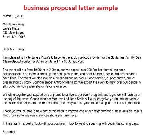 Sample Business Proposal Cover Letter  A Business Proposal Letter