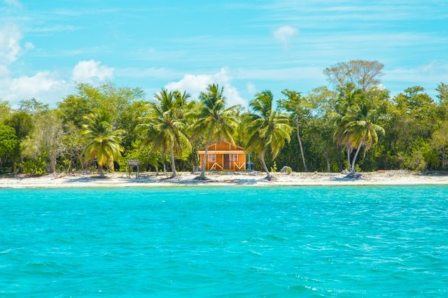 Blue green waters of the Caribbean