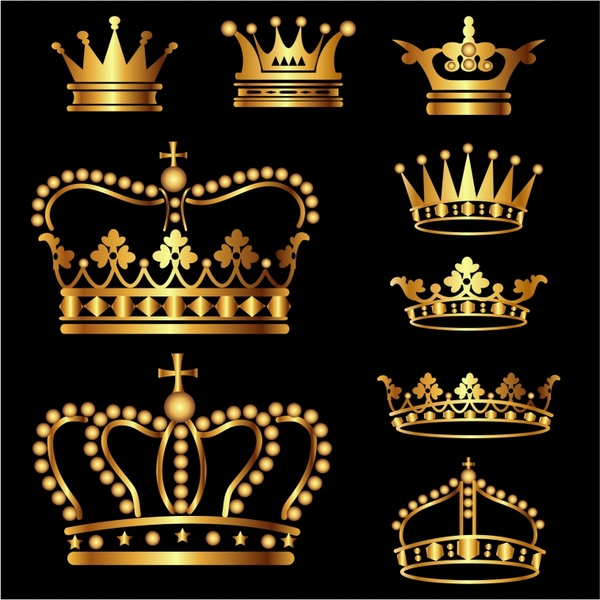 Gold Crown Set Free vector