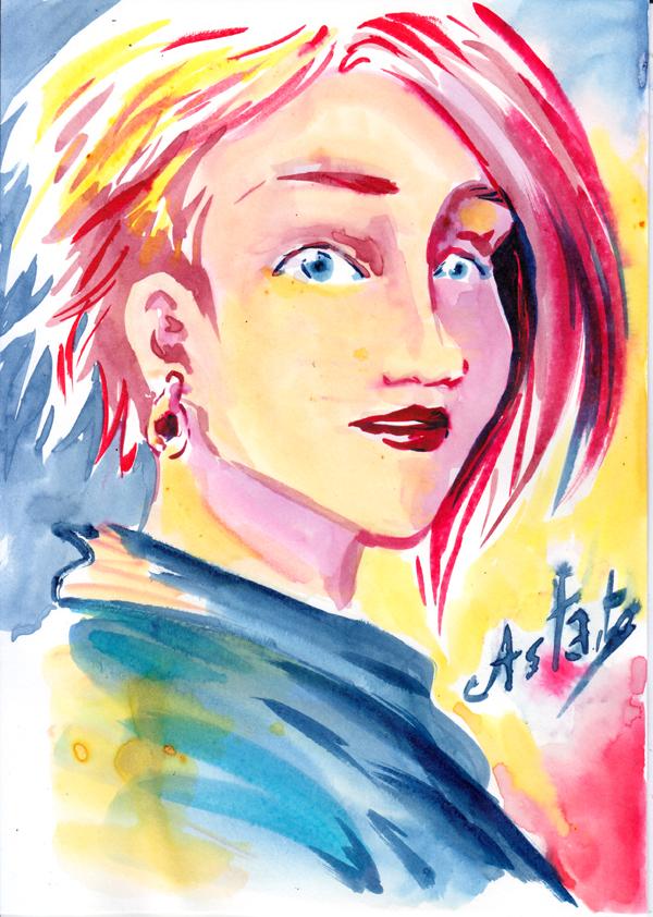 Portrait spontané à l'encre de couleur - Astate