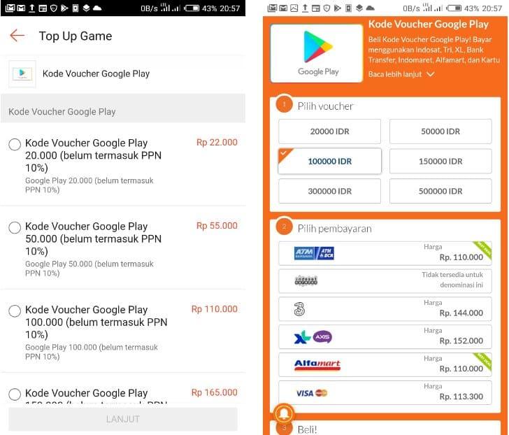harga voucher google play shopee terbaru