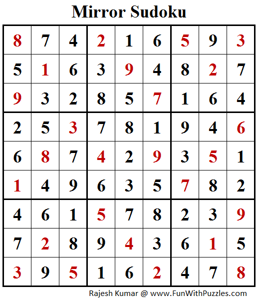 Mirror Sudoku (Fun With Sudoku #175) Answer