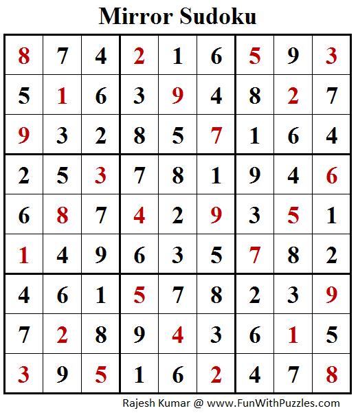 Mirror Sudoku (Fun With Sudoku #175) Answer