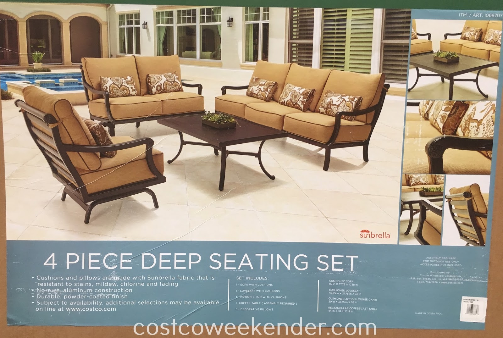Costco 1068707 - Pride Family Brands 4 piece Deep Seating Set - great for any patio or backyard