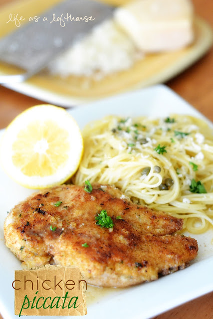 Chicken Piccata is chicken breasts full of Italian flavor laid over a bed of butter noodles with capers. Life-in-the-Lofthouse.com