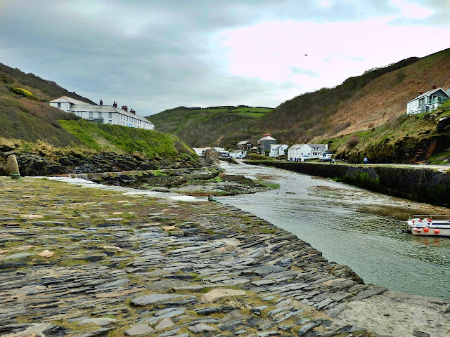 Looking inland from the old harbour wall at Boscastle, Cornwall