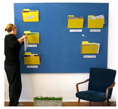 computer file folder shaped wall-hanging folders for papers in bright yellow