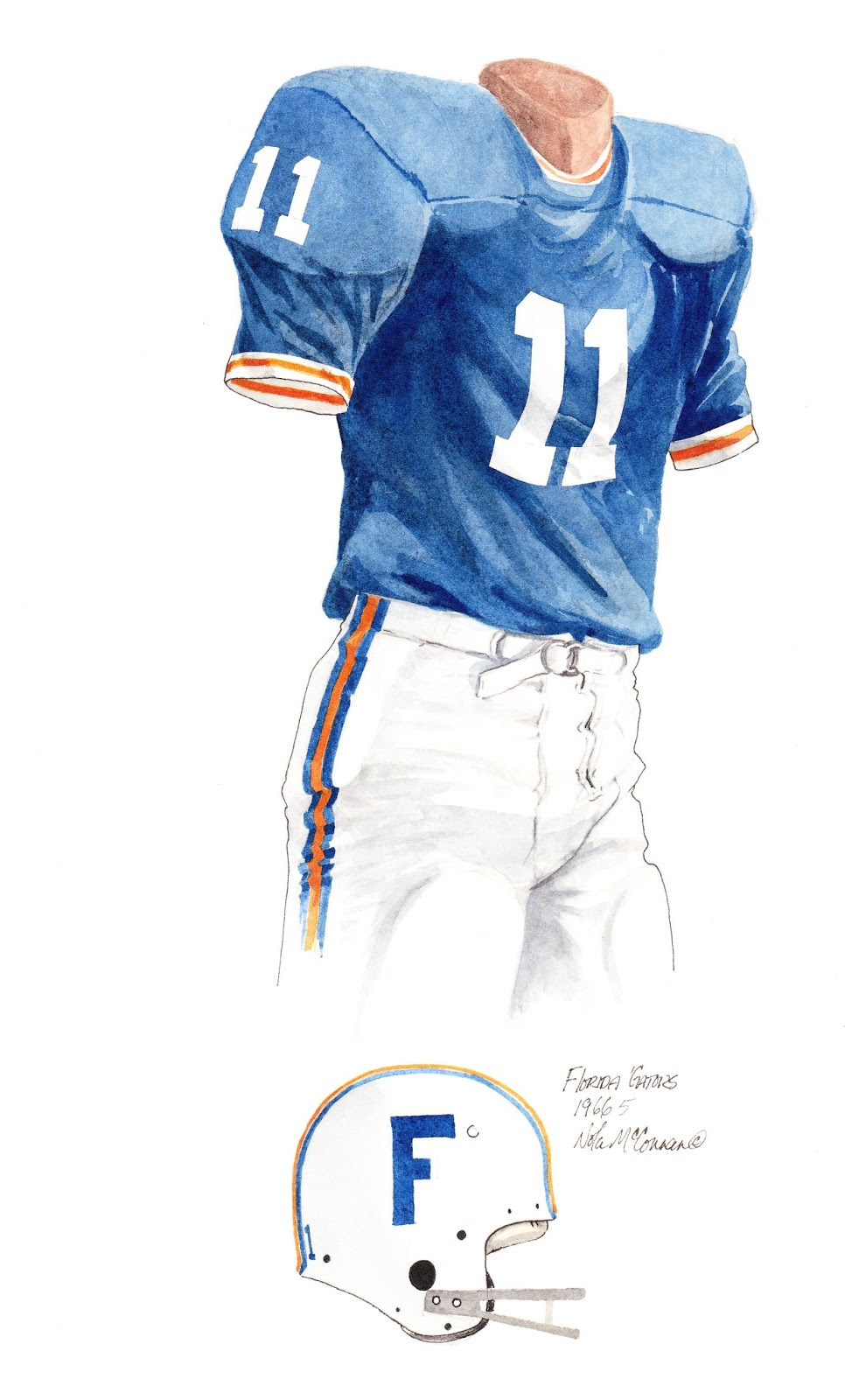 fc3c029a5 1966 University of Florida Gators football uniform original art for sale